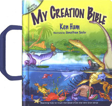 With delightful illustrations, this board book is uniquely written to explain the Bible for today's children who are often confused by the conflict between the Bible and evolutionary beliefs that try to dismiss it. Ken Ham, in a powerful series of rhymes, summarizes the main events of the Bible and gives answers that not only help children be secure in their beliefs but also prepares them to defend their faith. It covers the Bible's history of Creation and sin; details the flood of Noah, the Tower of Babel, and more; and connects sin that begin in the Garden of Eden to the need for Christ to offer us salvation. Inside, you'll also find a music CD. Recommended for ages 6 and under.