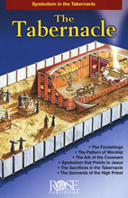 """This pamphlet shows a beautiful picture of the Old Testament Tabernacle in the wilderness of Sinai. The Tabernacle was the special """"tent of meeting"""" that God instructed Moses to build. It was placed in the center of the camp and could be set up and taken down wherever the Children of Israel traveled. Drawn to Bible measurements, this picture points out all of the important features: the Ark of the Covenant, the High Priest, the Holy Place, the Holy of Holies, the Brazen Alter, the pillar of fire and more. Includes more than a dozen illustration and diagrams. Includes measurements, explanations, a list of sacrifices, symbols, and a time line. Perfect for adult and children. It measure 8.5"""" x 5.5 inches and unfolds to 33 inches long. Fits inside most Bible covers."""
