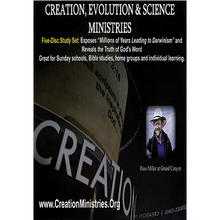 """CESM's 5-Disc Set includes: 17 sessions, plus vital foundational issues. Messages include: 50 Facts vs. Darwinism, An Old Earth or A Global Flood, Noah's Ark, Dinosaurs, 50 Facts Compared to the Bible, Three-Day Formation of Grand Canyon, The Evil Fruits of Old Earth Beliefs, If the Foundations be Destroyed, Microscopic Man-Astronomical God, God's Word on the Creation Week, Intelligent Design, and more. All are on 4 DVD's; plus there is a reproducible 73-page Study Guide on a CD.  DVD Disc One:      50 Facts vs Darwinism takes Darwinian teachings from textbooks to museum displays and beyond, showing how real science has been undermined by this unobserved religious belief and why 87% of Christian kids have been turned away from the Church. Shows how to scientifically refute Darwinism in 7-seconds flat!     If the Foundations Be Destroyed reveals that the USA was founded on Christian principles and why an attack on Biblical Creation is an attack on both Christianity and America's freedoms.     Intelligent Design contrasts Biblical Creation and the """"ID"""" movement itself to show that, while many Christians are involved in the ID movement, the ID movement is NOT a Christian movement.   DVD Disc Two:      An Old Earth or A Global Flood? exposes the unreliability of radiometric dating; where old-earth beliefs come from; why a global flood destroys old-earth beliefs; and shows overwhelming evidence of the global flood.     The Three-Day Formation of Grand Canyon captures this icon of old-earth beliefs for God's glory and shows how the chasm formed quickly.     Noah's Ark and Dinosaurs recaptures dinosaurs, another old-earth icon, for the Glory of God and gives great insights into the historical fact of Noah's Ark.  DVD Disc Three:      God's Word and the Creation Week. Using Scripture to explain Scripture, we find the absolute Truth of God's Word. What does God say about the length of time of Creation?     The Evil Fruits. Jesus said we are to tell good from bad by the fruit"""