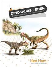 "Dinosaurs of Eden: Did Adam and Noah Live with Dinosaurs?  Revised and updated, this beloved classic will take you on a breathtaking trip across time to the biblical foundation of dinosaurs!  Did you know that we have a written record of the history of the universe, past, present, and future, from One who sees and knows everything? The infinite Creator of the universe made sure that all the most important events of history were recorded in a special series of books that together make up one book, the Bible. Using the Bible, we can actually read about the past (enabling us to correctly understand what we observe in the present in this world), and the future!  Learn how ""the history book of the universe,"" the Bible, enables us to understand all about dinosaurs. Discover when they lived, what they ate, why we find their bones, what happened to them, and much more! See the vivid detail in these beautiful, full-color illustrations by artist Bill Looney! Fully revised and updated, this beloved classic will take you on a breathtaking trip across time to the biblical foundation of dinosaurs. This captivating adventure by Ken Ham explores the Garden of Eden, the exciting days of Noah's Flood, and the Tower of Babel. You'll learn the true history of the earth, and discover the very meaning and purpose of life!"