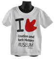I Love (theropod dinosaur footprint as heart shape) Creation & Earth History Museum T Shirt - Adult - White  Available Adult Sizes: Small, Medium, Large, X-Large, 2 XL  Color - White with Black Lettering and Red Theropod Footprint