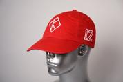 """ΚΑΨ diamond """"K"""" red baseball cap with the #12 on left side and Kappa Alpha Psi embroidered on the rear."""