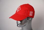 """ΚΑΨ diamond """"K"""" red baseball cap with the #10 on left side and Kappa Alpha Psi embroidered on the rear."""