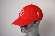 """ΚΑΨ diamond """"K"""" red baseball cap with the #1 on left side and Kappa Alpha Psi embroidered on the rear."""