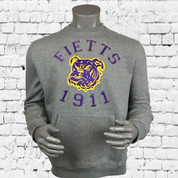 "ΩΨΦ super-soft fleece fabric with iconic ""FIETTS Dawg 1911"" logo graphic appliqué detail, kangaroo front pocket, pullover silhouette and standard straight hem. Imported."