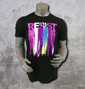 "This Resist t-shirt is vivid with bright hues that pop against a cotton crewneck that acts like a canvas for this artistically inspired tee featuring the iconic word ""RESIST"" printed across the chest."