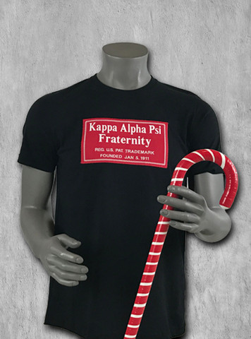 Black short-sleeve ΚΑΨ Signature tee with logo graphic print on chest. Crew neckline and straight hem.