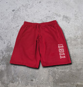 "Nupe athletic fleece shorts made from a heavy weight terry fleece fabric for extreme comfort and durability.  Strong waist band support and side and back pockets with hemmed bottom. White embroidered ""1911"" in red shorts."