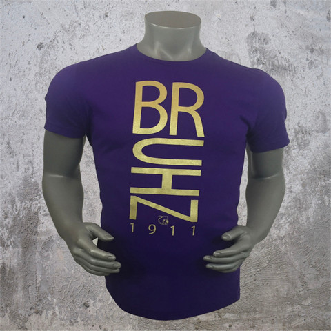 Omega Psi Psi Bruhz shirt is a 100% Airlume combed and ring-spun cotton tee with a metallic gold screen print on front.