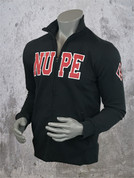 Nupe athletic track jacket made with triple-layer, double-jersey performance fleece for a unique feel and superior comfort.  Slim fit profile with full front zipper and zippered slant pockets.  Mock collar and waist band feature a flat front with rear ribbed bands, providing a secure fit while maintaining a tailored profile. Nupe appliqué on front. Kappa Alpha Psi diamond K embroidered on left sleeve.