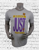 "Omega Psi Phi Poly blend performance t-shirt. Carbon heather shirt with screen print design ""BRUHZ JUST TRAIN HARDER"".  Purple and Gold design."