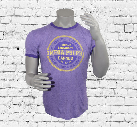Omega Psi Phi ringer t-shirt, heather purple shirt with purple binding at neck and sleeves. Center chest circular ΩΨΦ design printed in purple and gold.