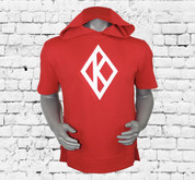 Stylish Kappa Alpha Psi pullover short sleeve hoodie made with triple-layer, double-jersey performance fleece for superior comfort and unique hand. Double Appliqué Diamond K design across chest area.  Fashionable slim fit profile features side seam splits with zippers, contrast front and back length, and reverse front pouch pocket for a sleek look.