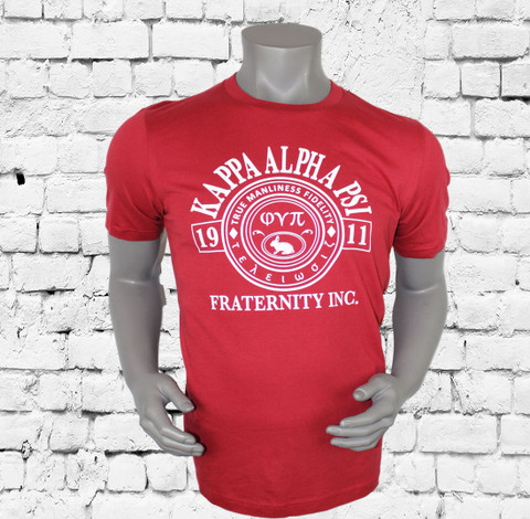 """Kappa Alpha Psi T-Shirt. Crimson colored shirt with white screen printed design on front and rear. The front design contains Kappa Alpha Psi """"true manliness fidelity"""" design. -100% Cotton Tee"""