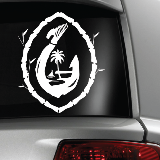 Large Guam Seal Fish Hook Bamboo White Sticker Decal 12x15