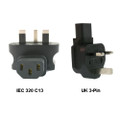IEC 320-C13 to UK 3-Pin Power Adapter