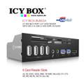 "IB-863-A: ICY BOX 5.25"" Multi-port Card Reader with USB 3.0 ,USB 2.0 Hub, eSATA ,HD Audio"