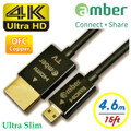AMBER HDMI-DA04 ULTRA SLIM HDMI CABLE D-A 4.6M FOR 4K ULTRA HD