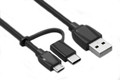 1M USB to Micro BM & Type-C Combo Cable