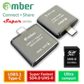 Amber CU3R-GB07 USB 3.1 Type-C to SD4.0 UHS-II reader, 312 MB/s, High-Class Aluminum Case