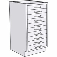 "Base Unit - Ten 3"" Drawers"