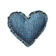 Dark-wash Denim Hand-stitched Heart