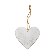 White-washed Wooden Heart Tags