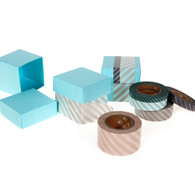 Sky Blue Favour Box Set (20) with Stripes Masking Tape