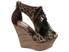 Two Lips Devour Leopard Wedges