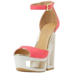 C Label Dolce 4 Neon Pink Platform Wedge Sandals