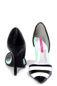 C Label Luxe 13 Black and White Pointed Pumps