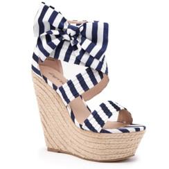 Zigi Soho Shira Navy Stripe Wedge Sandals