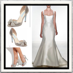 Betsey Johnson Silver Metallic Gown Pumps