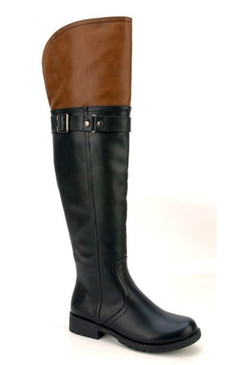 Nature Breeze Black & Cognac Over The Knee Boots
