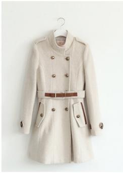 Mandarin Collar Beige Coat