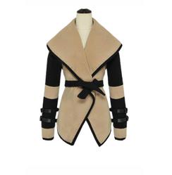 Turn Down Collar Tan & Black Jacket