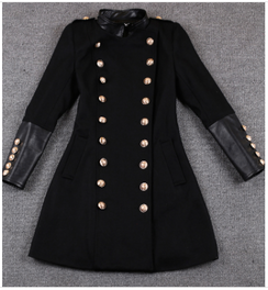 Patent Patchwork Military Coat