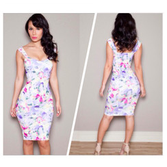 Spring Floral Bodycon Dress