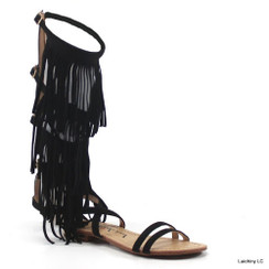 Luichiny Caught Me Fringe Black Sandals