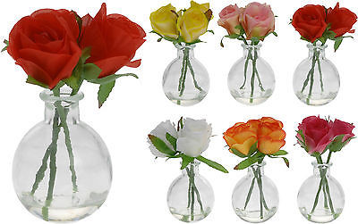 178 & 2 Glass Bud Vases 3 Artificial Roses Artificial Flowers Vase Restaurant Weddings