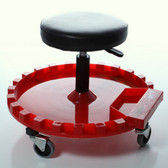 Traxion Inc 2-210 Round Button Cushion Rolling Creeper Seat With Tray