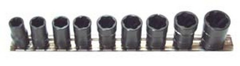 "H.B. Products TSMS3809B 9 Piece 3/8"" Drive Metric Turbosocket Set"
