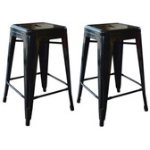 AmeriHome BS24BLK 24 Inch Black Metal Bar Stool - 2 Piece