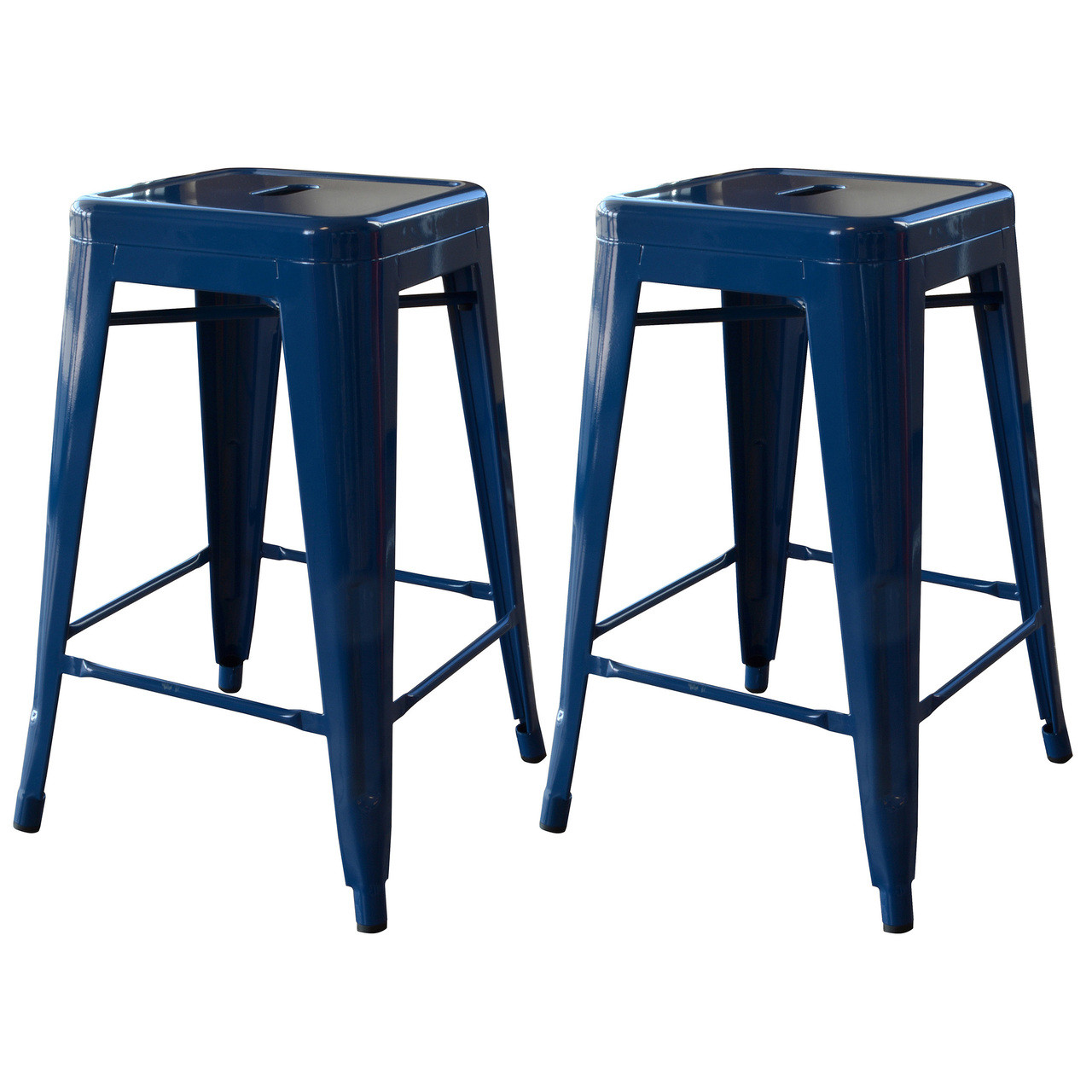 Amerihome Bs24blue 24 Inch Blue Metal Bar Stool 2 Piece Jb Tools