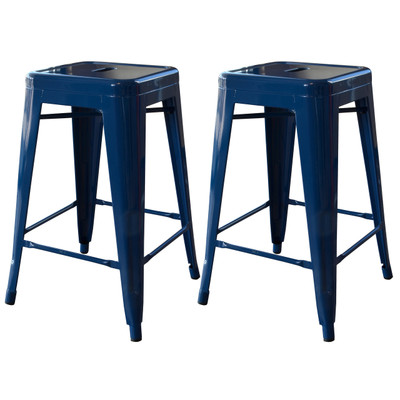 AmeriHome BS24BLUE 24 Inch Blue Metal Bar Stool - 2 Piece