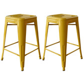 AmeriHome BS24GOLD 24 Inch Gold Metal Bar Stool - 2 Piece