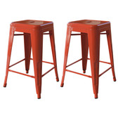 AmeriHome BS24ORNG 24 Inch Orange Metal Bar Stool - 2 Piece