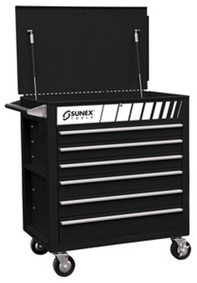 Sunex Tools 8057BK Premium Full Drawer Service Cart - Black