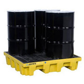 Justrite 28634 EcoPolyBlend 66 Gallon Sump Capacity, 49'' x 49'' x 10.25''  Yellow 4 Drum Pallet