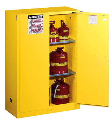 Justrite 894520 Flammable Safety Cabinet With Self Close Double Door 45 Gallon